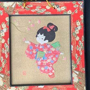 Signed Japanese Oshie Art, Geisha/cherry blossoms